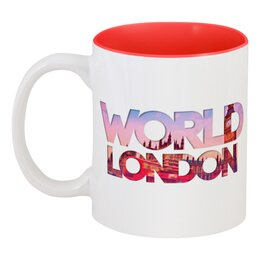 """Кружка цветная внутри """"""""DIFFERENT WORLD"""": London"""" - world, london, мир, города, лондон"""
