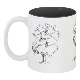 """Кружка цветная внутри """"Сказочный лес"""" - рисунок, деревья, природа, иллюстрация, скетч"""