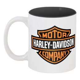 "Кружка цветная внутри ""HARLEY-DAVIDSON"" - harley-davidson, чоппер, chopper, мотоцикл, motorcycle, bike, харли-дэвидсон"