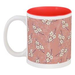"""Кружка цветная внутри """"Цветочный принт"""" - цветы, вишня, ветка, фон, грязно-розовый"""