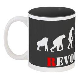 """Кружка цветная внутри """"Evolution - Revolution"""" - революция, обезьяна, эволюция, revolution, evolution"""