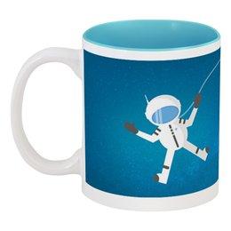 """Кружка цветная внутри """"Космонавт в открытом космосе."""" - рисунок, космос, космонавт, полёт, скафандр"""