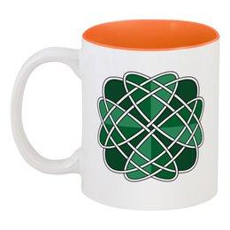 """Кружка цветная внутри """"Клевер удачи """" - ирландия, узоры, орнамент, кельты"""