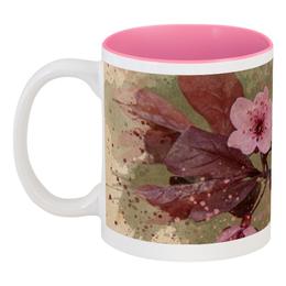 """Кружка цветная внутри """"Ветвь сакуры"""" - цветы, акварель, сакура, ветвь сакуры, купить кружку"""