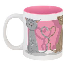 """Кружка цветная внутри """"Влюблённые коты"""" - любовь, коты, валентинка, день св валентина"""