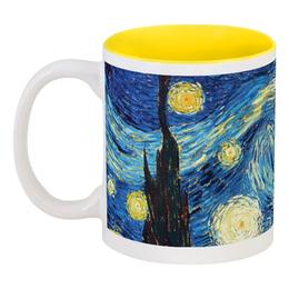 "Кружка цветная внутри ""Ван Гог. Звездная ночь"" - арт, картина, ван гог, живопись"