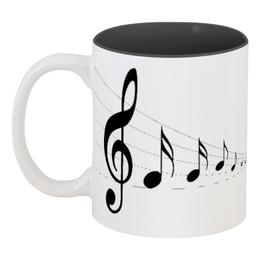 """Кружка цветная внутри """"Звучание нот"""" - нота, мелодия, музыка"""