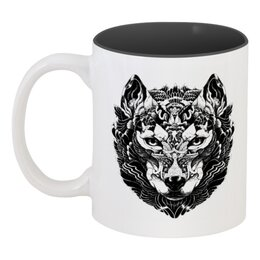 """Кружка цветная внутри """"Волк Стилизация 2"""" - волк, wolf, волчица"""