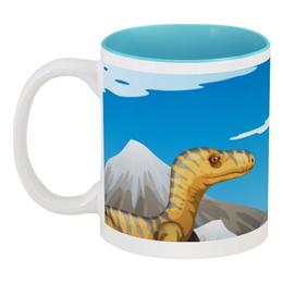 """Кружка цветная внутри """"Динозавры"""" - динозавры, животное"""