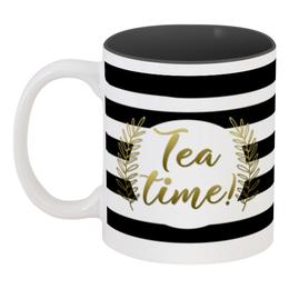 """Кружка цветная внутри """"Время чая"""" - черно-белое, напиток, чай, время, tea"""