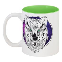 """Кружка цветная внутри """"Дух волка."""" - космос, религия, волк, шаман, мистика"""