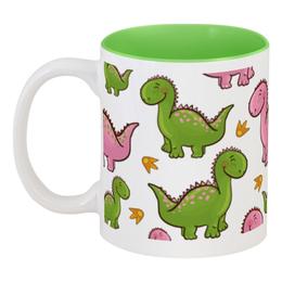 """Кружка цветная внутри """"Динозаврики"""" - животные, динозавры"""