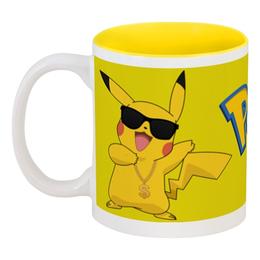 """Кружка цветная внутри """"Pokemon GO"""" - игра, покемон, пикачу, доллар, pikachu"""
