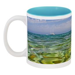 "Кружка цветная внутри ""Допивай и на море"" - италия, солнце, море, отдых, сицилия"