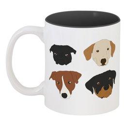 """Кружка цветная внутри """"Собаки (1)"""" - новый год, собака, пёс, 2018, год собаки"""