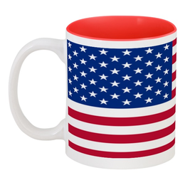 "Кружка цветная внутри ""Американский Флаг"" - америка"