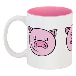 """Кружка цветная внутри """"Свинья"""" - 2019, свин, поросёнок, год свиньи, новый год"""