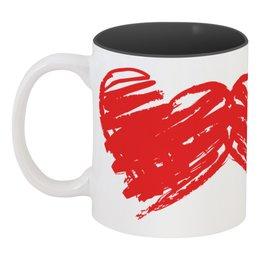 """Кружка цветная внутри """"Двойные сердца"""" - любовь, сердца, 14 февраля, ко дню влюбленных, valentine's day"""