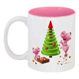 """Кружка цветная внутри """"Поросята"""" - новый год, ёлочка, ёлка, поросёнок, год свиньи"""