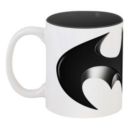 """Кружка цветная внутри """"Бэтмен"""" - супергерои, бэтмен, летучая мышь, комиксы dc, вселенная dc"""