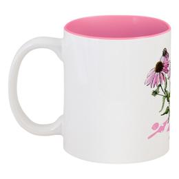 """Кружка цветная внутри """"Розовая эхинацея"""" - цветок, скетч, botanicalart, эхинацея"""