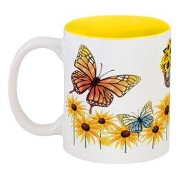 """Кружка цветная внутри """"Подсолнух"""" - подсолнух, природа, бабочки, цветы"""