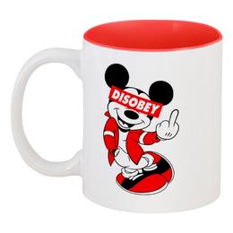 "Кружка цветная внутри ""Disobey"" - микки маус, mickey mouse, obey, disobey"