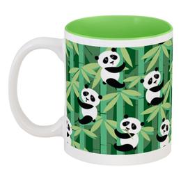 """Кружка цветная внутри """"Жизнь панд"""" - узор, животные, панда, лес, бамбук"""