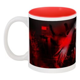 "Кружка цветная внутри ""Red Darkness"" - арт, дизайн, аниме, тьма, мистика"