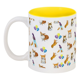 """Кружка цветная внутри """"Веселая семейка """" - желтый, яркий, шары, собаки, корги"""