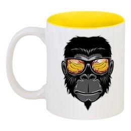 """Кружка цветная внутри """"Обезьяна"""" - бананы, monkey, животное, горилла, gorilla"""