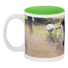 """Кружка цветная внутри """"Только вперёд!"""" - мотоцикл, песок, motocross, мотогонщик, эндуро"""