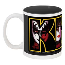"""Кружка цветная внутри """"Группа KISS """" - kiss, heavy metal, рок музыка, рок группа, хард рок"""