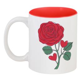 """Кружка цветная внутри """"Розочка"""" - любовь, цветы, сердечки, день влюблённых, розочка"""