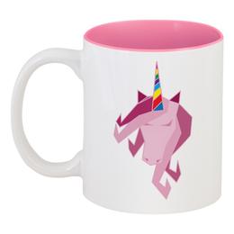 """Кружка цветная внутри """"Единорог"""" - лошадь, пони, мифы, единорог"""