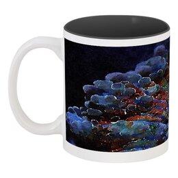 """Кружка цветная внутри """"Глубоководный коралл"""" - черный, красный, фиолетовый, темный"""