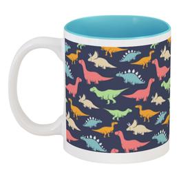 """Кружка цветная внутри """"Динозавры"""" - животные, динозавры"""
