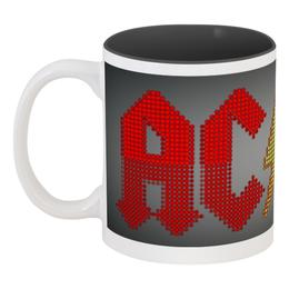 "Кружка цветная внутри ""AC/DC "" - heavy metal, hard rock, ac dc, рок музыка, рок группа"