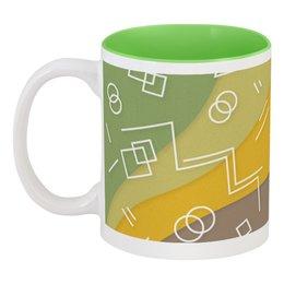 """Кружка цветная внутри """"Графическая абстракция."""" - радуга, фигура, графика, абстракция, искусство"""