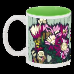 """Кружка цветная внутри """"Кружка с цветами фаенокомы."""" - красиво, цветы, рисунок, кира, фаенокома, патсель, авторские кружки"""