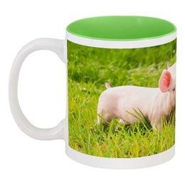 """Кружка цветная внутри """"Поросята"""" - животные, природа, свинья, поросенок, год кабана"""