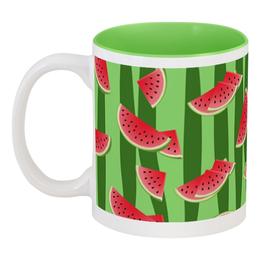 """Кружка цветная внутри """"Арбуз"""" - полоска, красный, зеленый, арбуз, семена"""