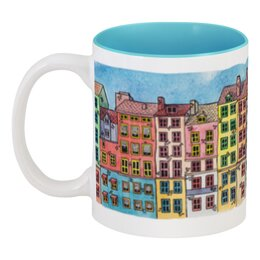 """Кружка цветная внутри """"Color Your Life"""" - арт, рисунок, город, в подарок, оригинально, креативно, catomorphism"""