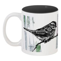 """Кружка цветная внутри """"Птички"""" - природа, рисунок, птицы, графика, животные"""