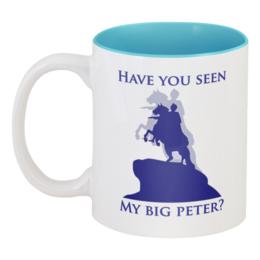 """Кружка цветная внутри """"My Big Peter"""" - питер, оригинально, мост, креативно, bridge, saint petersburg, разведенный мост, петербург, медный всадник, петр"""