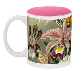 """Кружка цветная внутри """"Любимой маме (Орхидеи Эрнста Геккеля)"""" - цветы, 8 марта, маме, орхидея, красота форм в природе"""