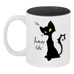 """Кружка цветная внутри """"Кот-анархист"""" - кот, юмор, рисунок, графика, анархист"""