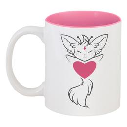 """Кружка цветная внутри """"Сердце"""" - сердце, кошка, 14 февраля, день влюбленных, белая кошка"""
