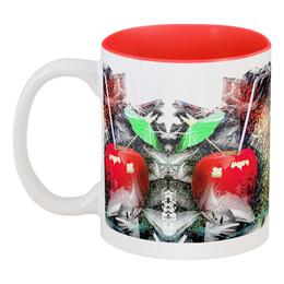 """Кружка цветная внутри """"Яблочный микс"""" - напиток, абстракция, яблоко, фрукт, натюрморт"""