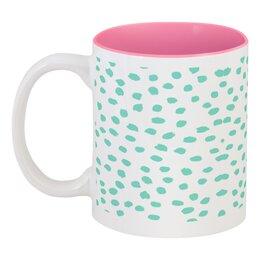 """Кружка цветная внутри """"Мятный Лео """" - белый, розовый, мятный"""